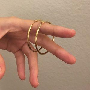 Brand New - 2 Gold Stainless Steel Hoop Earrings